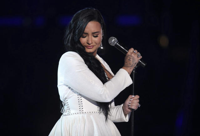 Demi Lovato on stage at the Grammy Awards 2020 (Matt Sayles/Invision/AP)