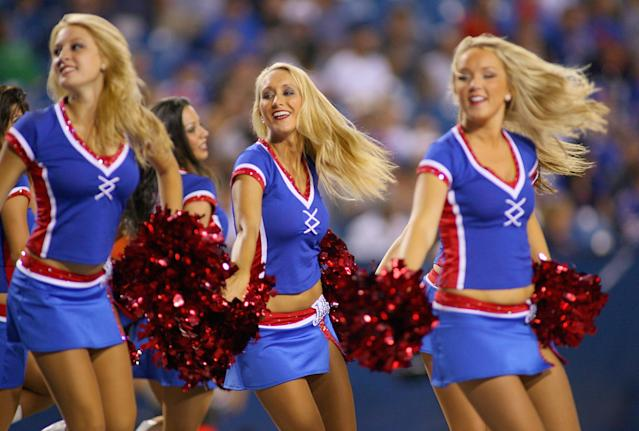 ORCHARD PARK, NY - AUGUST 09: Buffalo Jills cheerleaders dance during a timeout at Ralph Wilson Stadium on August 9, 2012 in Orchard Park, New York.Washington won 7-6. (Photo by Rick Stewart/Getty Images)