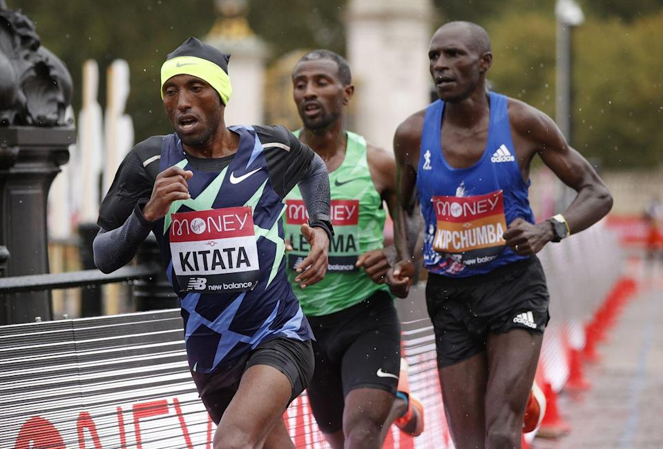 <p>London Marathon winner Shura Kitata mid-race</p>