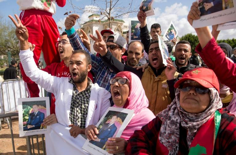 Moroccans demonstrate outside a court on March 13, 2017 against the killing of security forces in the Western Sahara in 2010