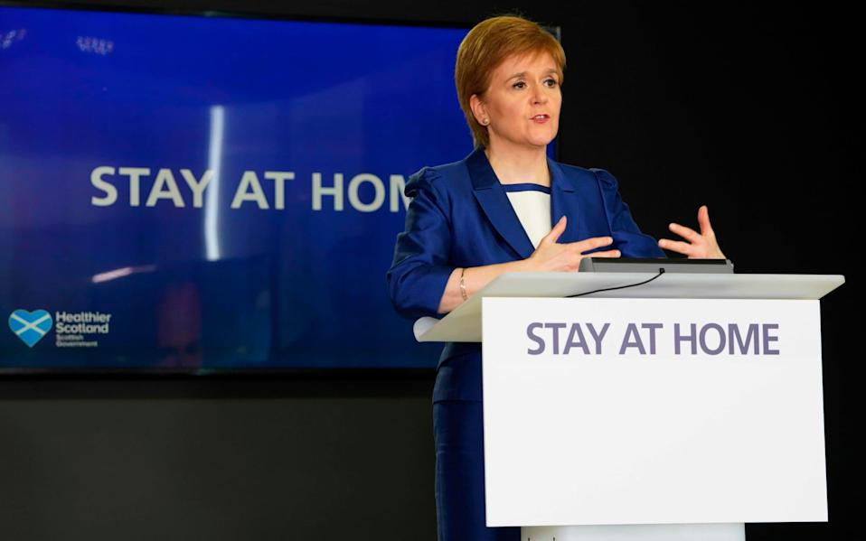 Nicola Sturgeon speaking during the Scottish Government's daily briefing - AFP