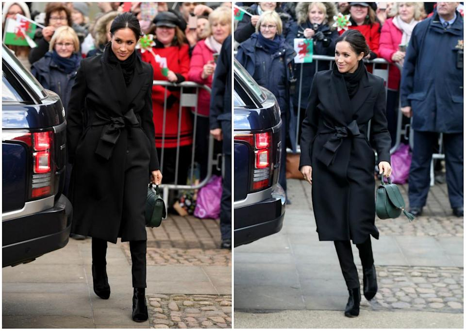 <p><strong>When: Jan. 18, 2018</strong><br>Markle marked the occasion in a fitted black Stella McCartney jacket and £175 ($302 CAD) matching black pants by Hiut Denim. She complemented the outfit with a green tote bag and tied up her long locks in yet another messy bun. Stunning, don't you think? <em> (Photos: Getty)</em> </p>