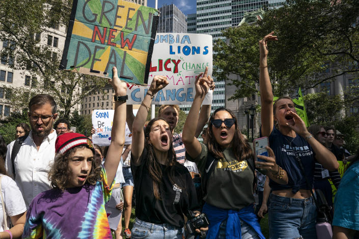 Young activists and their supporters rally for action on climate change on September 20, 2019 in New York City. | Drew Angerer—Getty Images