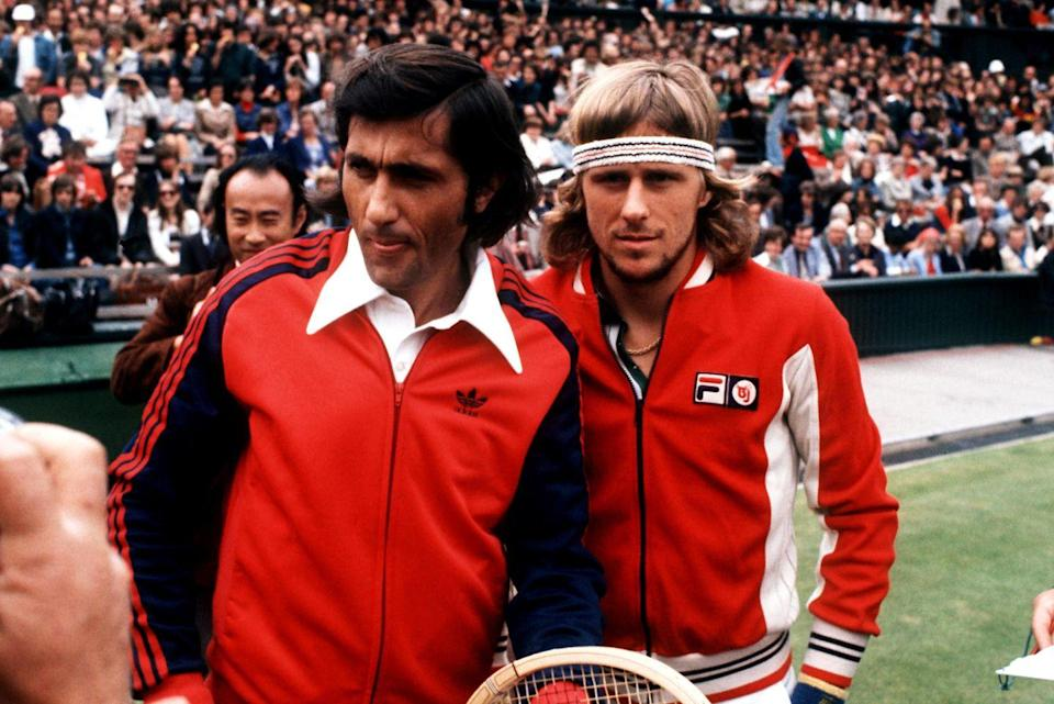 <p>Ilie Nastase and Bjorn Borg in 1977. Borg, who was 21 at the time, defeated Nastase the previous year to win the the Men's Singles championship. </p>