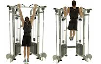 <p>Wedge a pull-up bar into your door frame. Start by hanging with an overhand grip at shoulder width. Keeping your core tight, drive your elbows towards your hips, contracting your back and biceps to lift your chest to the bar. Lower and repeat.</p>