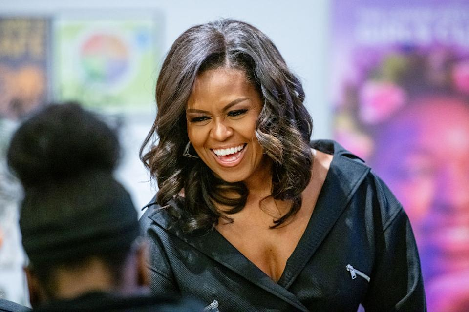 Michelle Obama has thanked fans for her birthday wishes while showing off her natural curls in an Instagram selfie, pictured in 2018. (Getty Images)