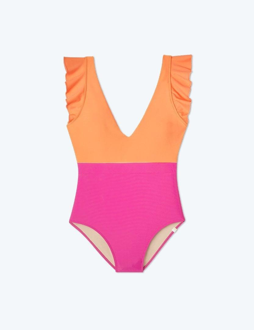 <p>This <span>The Ruffle Backflip in Hibiscus &amp; Tangerine</span> ($95) is begging to be taken on vacation.</p>