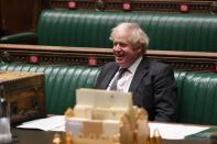 Britain's Prime Minister Boris Johnson reacts during a debate at the House of Commons in London
