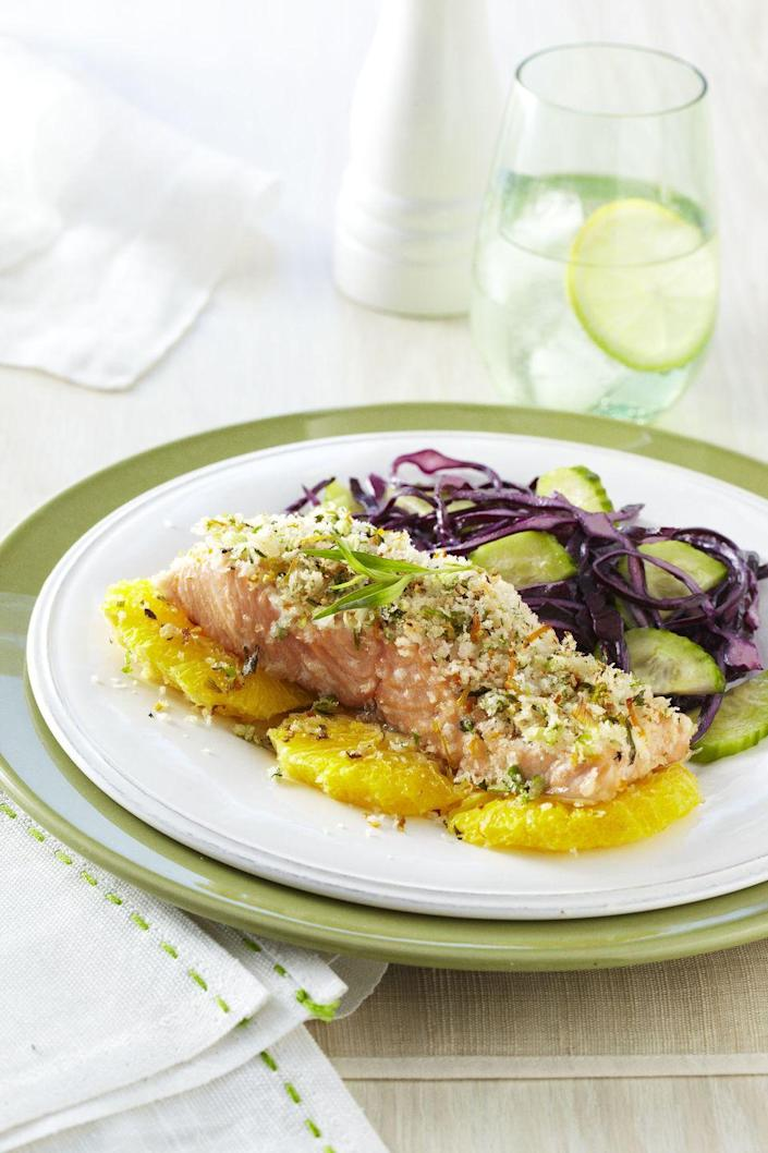 """<p>Coating your salmon fillets with breadcrumbs is A-OK, as long as you bake 'em afterward. Sorry, fried fish lovers!</p><p><em><a href=""""https://www.goodhousekeeping.com/food-recipes/a10977/tarragon-citrus-salmon-recipe-ghk0511/"""" rel=""""nofollow noopener"""" target=""""_blank"""" data-ylk=""""slk:Get the recipe for Tarragon-Citrus-Crusted Salmon »"""" class=""""link rapid-noclick-resp"""">Get the recipe for Tarragon-Citrus-Crusted Salmon »</a></em> </p>"""
