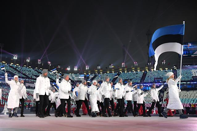 <p>Flag bearer Saskia Alusalu of Estonia and teammates enter the stadium during the Opening Ceremony of the PyeongChang 2018 Winter Olympic Games at PyeongChang Olympic Stadium on February 9, 2018 in Pyeongchang-gun, South Korea. (Photo by Matthias Hangst/Getty Images) </p>
