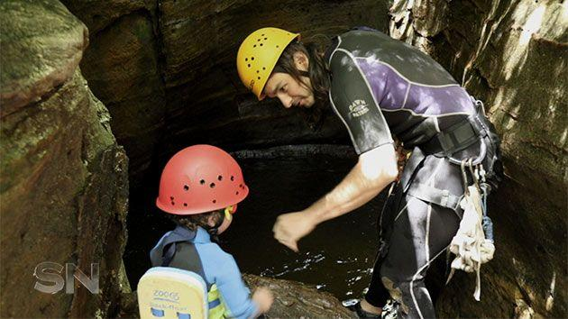 James and Jack, three, enjoy canyoning together