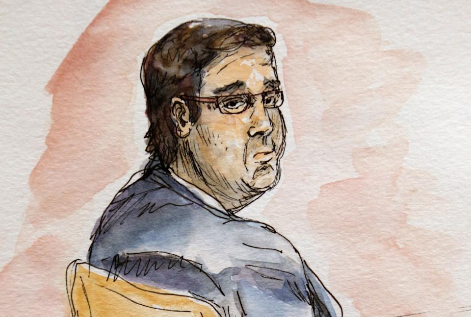 This artwork shows James Alex Fields Jr., during jury selection in his trial in Virginia court in November. (Photo: ASSOCIATED PRESS)