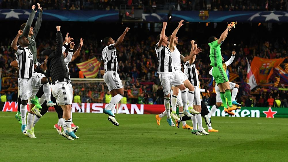 Juventus celebrating Barcelona Juventus Champions League 04192017