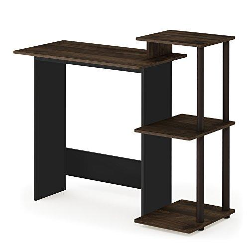 FURINNO Efficient Home Laptop Notebook Computer Desk, Square Side Shelves, Columbia Walnut/Brown (Amazon / Amazon)