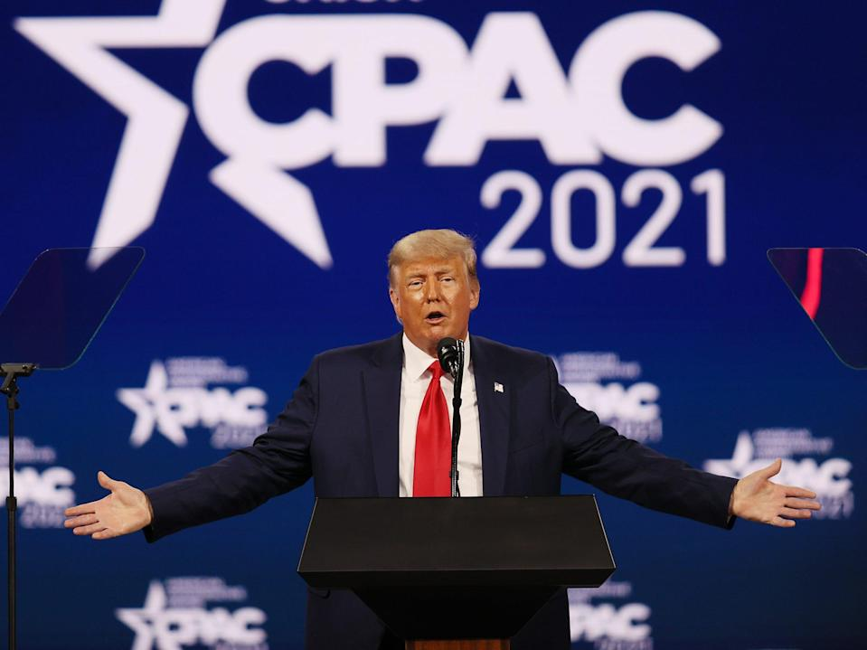 ORLANDO, FLORIDA - FEBRUARY 28: Former President Donald Trump addresses the Conservative Political Action Conference held in the Hyatt Regency on February 28, 2021 in Orlando, Florida. Begun in 1974, CPAC brings together conservative organizations, activists, and world leaders to discuss issues important to them. (Photo by Joe Raedle/Getty Images)