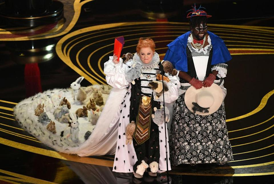 Melissa McCarthy also won the Oscars audience for her The Favourite inspired gown [Photo: Getty]