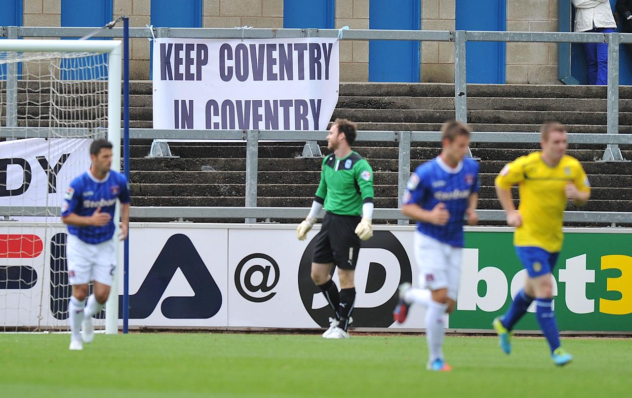 A Coventry City banner during the Sky Bet Football League One match at Brunton Park, Carlisle.
