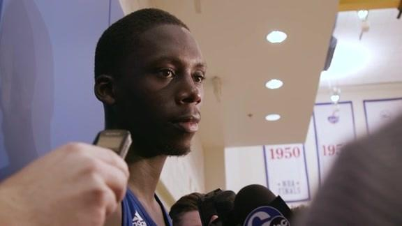 "<a class=""link rapid-noclick-resp"" href=""/ncaab/players/131337/"" data-ylk=""slk:Brandon Austin"">Brandon Austin</a> addresses the media after a 2016 workout with the 76ers. (NBA video screen shot)"