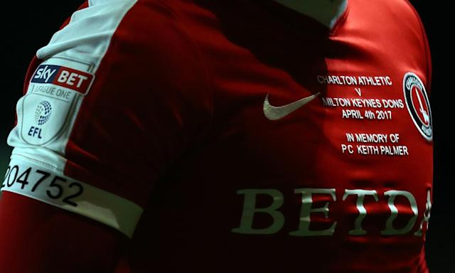 """<span class=""""element-image__caption"""">Charlton Athletic wore shirts in tribute to PC Keith Palmer during the match with MK Dons.</span> <span class=""""element-image__credit"""">Photograph: Bryn Lennon/Getty Images</span>"""