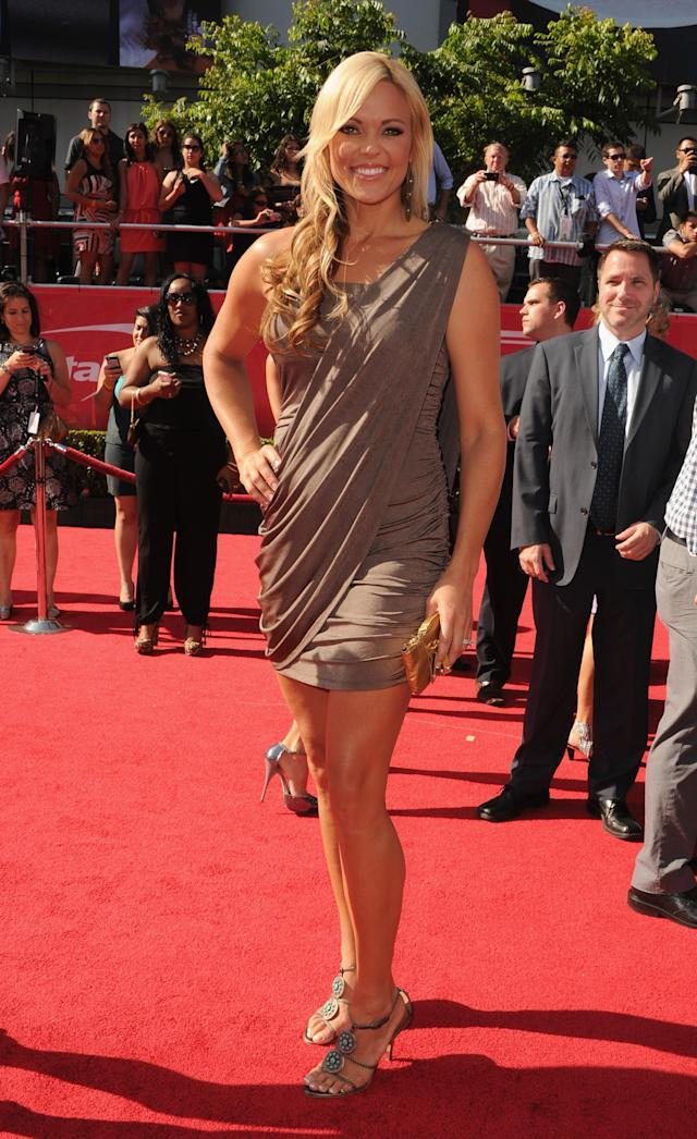 LOS ANGELES, CA - JULY 11: Former US Softball PlayerJennie Finch arrives at the 2012 ESPY Awards at Nokia Theatre L.A. Live on July 11, 2012 in Los Angeles, California. (Photo by Steve Granitz/WireImage)