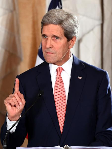 US Secretary of State John Kerry speaks at a joint press conference at the end of AUSMIN talks in Sydney, Australia, on August 12, 2014 (AFP Photo/Dan Himbrechts)