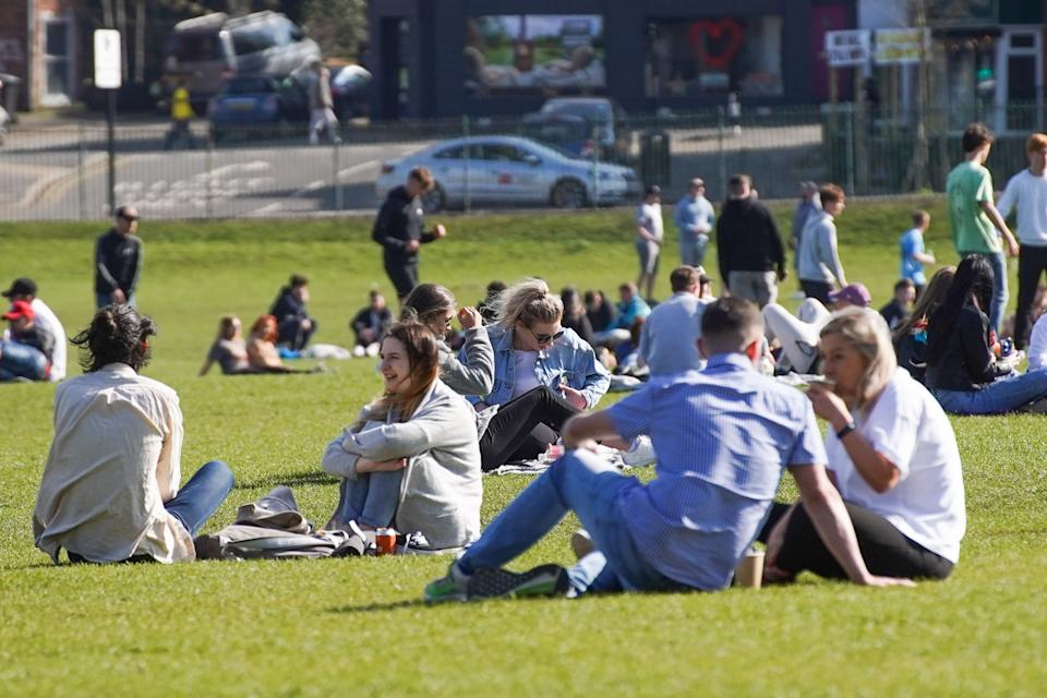 Members of the public enjoy the sunshine in Endcliffe Park, Sheffield on 4 April 2021. (Photo by Giannis Alexopoulos/NurPhoto via Getty Images)