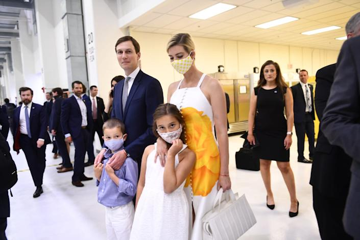 Ivanka Trump, President Donald Trump's daughter and adviser, arrives for a SpaceX launch in Florida with her husband Jared Kushner and their children: AFP via Getty Images