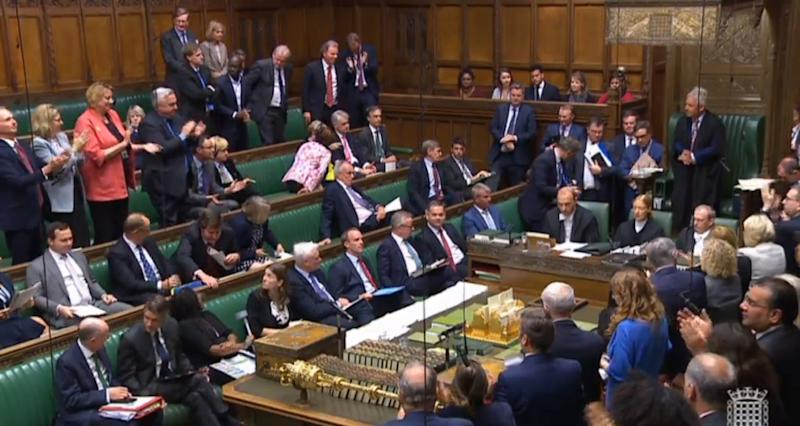 MPs applaud as John Bercow announces that he will stand down as Speaker
