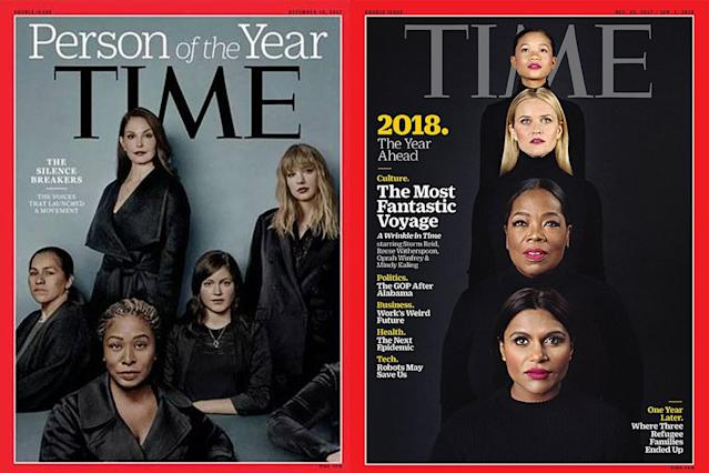 L: Taylor Swift, Ashley Judd, Susan Fowler, Adama Iwu, and Isabel Pascual pose for Time's 'Person of the Year' cover; R: Storm Reid, Reese Witherspoon, Oprah, and Mindy Kaling, the cast of A Wrinkle In Time. (Photos: Time magazine)