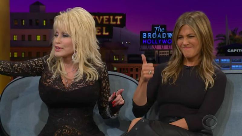 Dolly Parton jokes about threesome with Jennifer Aniston on late-night show