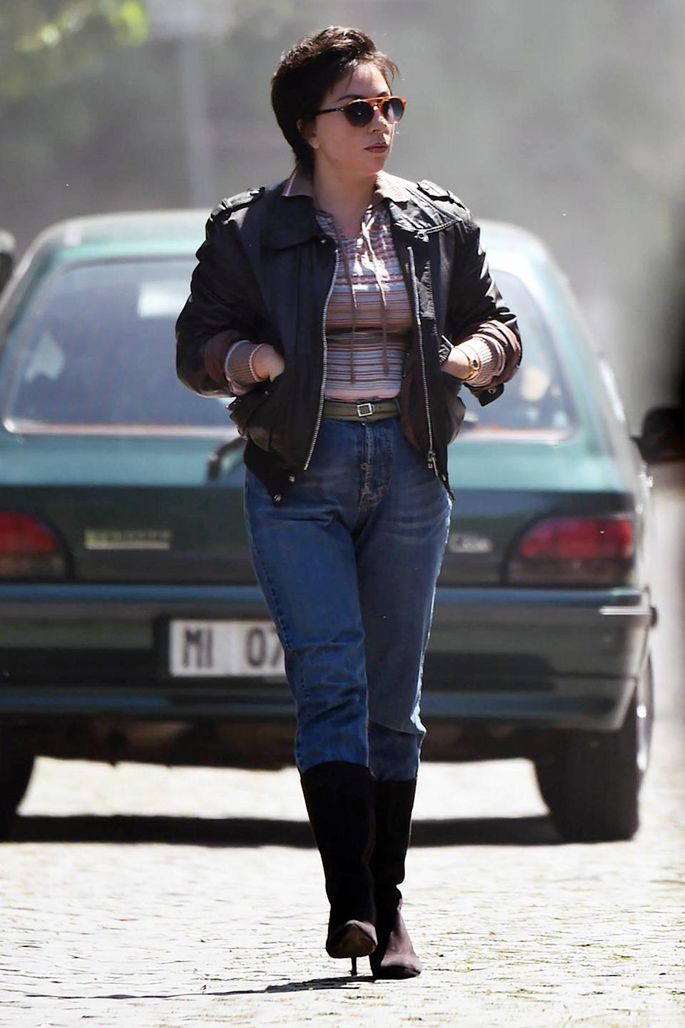 <p>Lady Gaga is unrecognizable as Patrizia Reggiani while filming <i>House of Gucci</i> on Friday in Rome. </p>