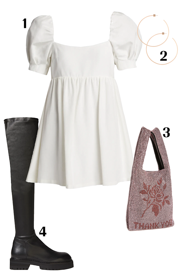 """<p>A simple but stunning babydoll dress with flattering puffed sleeved that feels both fun and flirty. Give the look a little edge with these Ann Demeulemeester over-the-knee leather boots and Alexander Wang's rhinestone mini tote.<strong><br></strong></p><p><strong>SHOP THE </strong><strong>OUTFIT</strong><strong>: </strong>1. <a href=""""https://shop.nordstrom.com/s/alice-olivia-bauery-puff-sleeve-babydoll-dress/5558604/lite"""" target=""""_blank"""">Alice + Olivia Dress</a> $375; 2. <a href=""""https://jenniferfisherjewelry.com/collections/hoops/products/square-thread-hoops?variant=30299423408210"""" target=""""_blank"""">Jennifer Fisher Hoops</a> $165; 3. <a href=""""https://www.shopbop.com/wangloc-mini-shopper-alexander-wang/vp/v=1/1584916279.htm?fm=search-viewall&os=false&ref=SB_PLP_DB_1"""" target=""""_blank"""">Alexander Wang Bag</a> $1,695; 4. <a href=""""https://www.theoutnet.com/en-us/shop/product/ann-demeulemeester/boots/mid-heel-boots/stretch-leather-over-the-knee-boots/2499567819690659"""" target=""""_blank"""">Ann Demeulemeester Boots</a> $867</p>"""