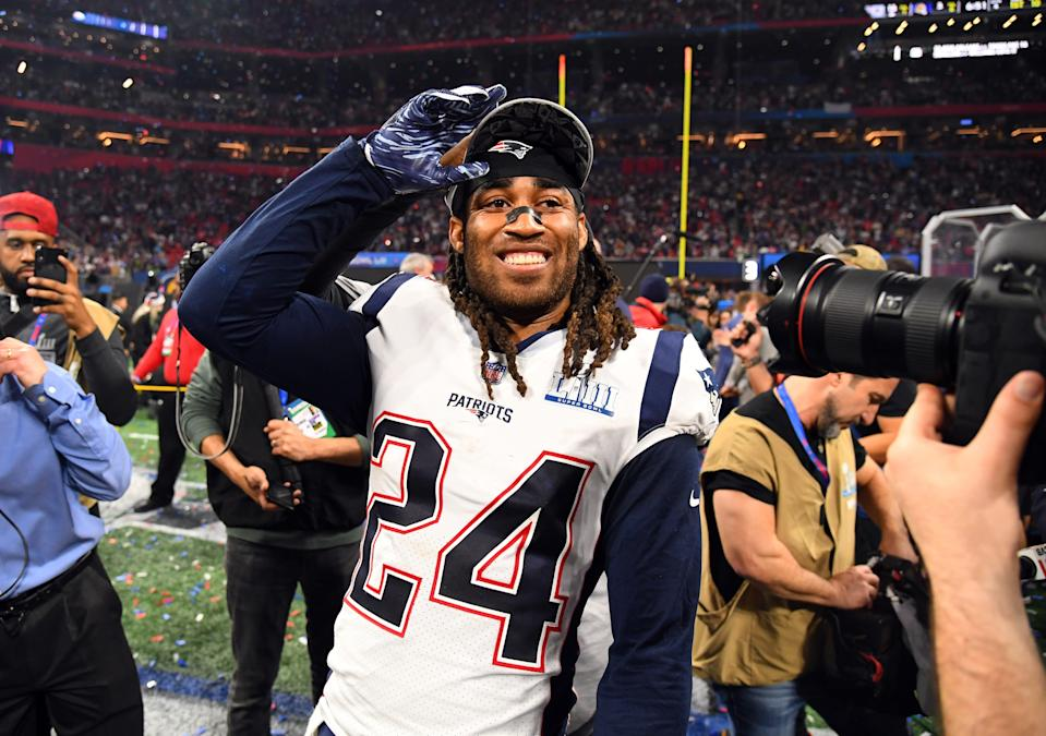 New England Patriots cornerback Stephon Gilmore (24) celebrates after winning Super Bowl LIII against the Los Angeles Rams at Mercedes-Benz Stadium.