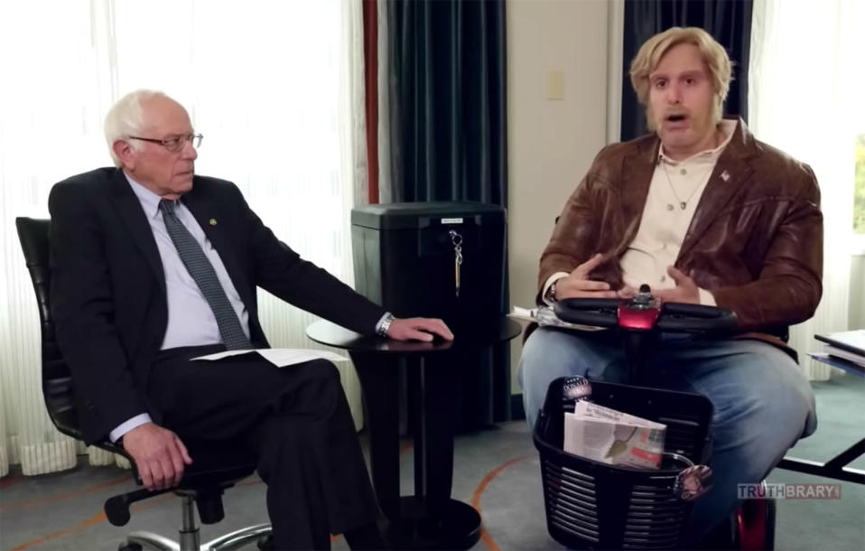 Sacha Baron Cohen interviews Bernie Sanders in character as Dr. Ruddick. (Photo: Organized Speech via YouTube)