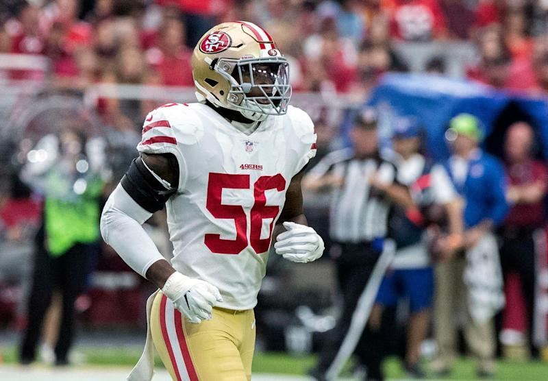 Reuben Foster, now with Washington, suffered a left leg injury on the first drill of OTA practice on Monday. (AP)