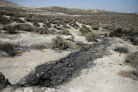 A naturally occurring oil seep is seen in McKittrick