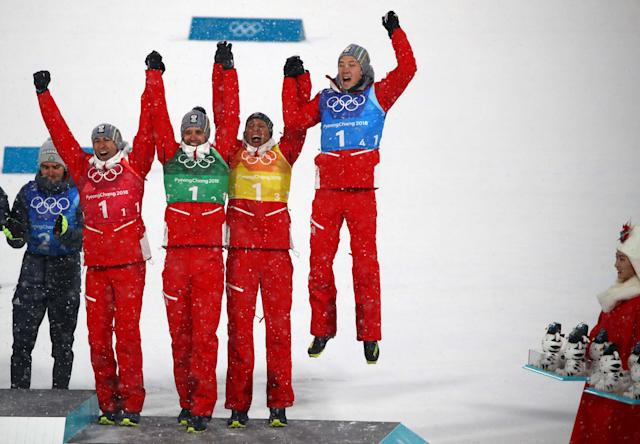 Nordic Combined Events - Pyeongchang 2018 Winter Olympics - Men's Team 4 x 5 km Final - Alpensia Cross-Country Skiing Centre - Pyeongchang, South Korea - February 22, 2018 - Wilhelm Denifl, Lukas Klapfer, Bernhard Gruber and Mario Seidl of Austria celebrate winning bronze. REUTERS/Carlos Barria