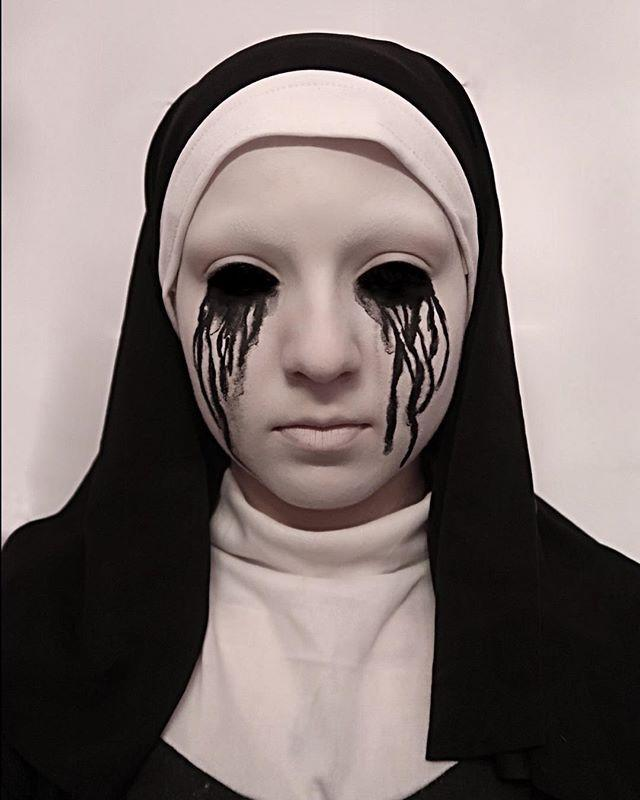 "<p>If you can't get enough of <em>American Horror Story</em>, try this scary makeup look that's entirely white save for absolutely terrifying eyes leaking jet black tears.</p><p><a class=""link rapid-noclick-resp"" href=""https://go.redirectingat.com?id=74968X1596630&url=https%3A%2F%2Fwww.spirithalloween.com%2Fproduct%2Fno-smear-white-makeup%2F94973.uts&sref=https%3A%2F%2Fwww.goodhousekeeping.com%2Fholidays%2Fhalloween-ideas%2Fg2599%2Fhalloween-costumes-with-makeup-ideas%2F"" rel=""nofollow noopener"" target=""_blank"" data-ylk=""slk:SHOP WHITE MAKEUP"">SHOP WHITE MAKEUP</a></p><p><strong>RELATED: </strong><a href=""https://www.goodhousekeeping.com/holidays/halloween-ideas/g4564/scary-halloween-costumes/"" rel=""nofollow noopener"" target=""_blank"" data-ylk=""slk:27 Scary Halloween Costumes That Will Seriously Spook Everyone"" class=""link rapid-noclick-resp"">27 Scary Halloween Costumes That Will Seriously Spook Everyone</a></p><p><a href=""https://www.instagram.com/p/BodTZWOBj-W/&hidecaption=true"" rel=""nofollow noopener"" target=""_blank"" data-ylk=""slk:See the original post on Instagram"" class=""link rapid-noclick-resp"">See the original post on Instagram</a></p>"
