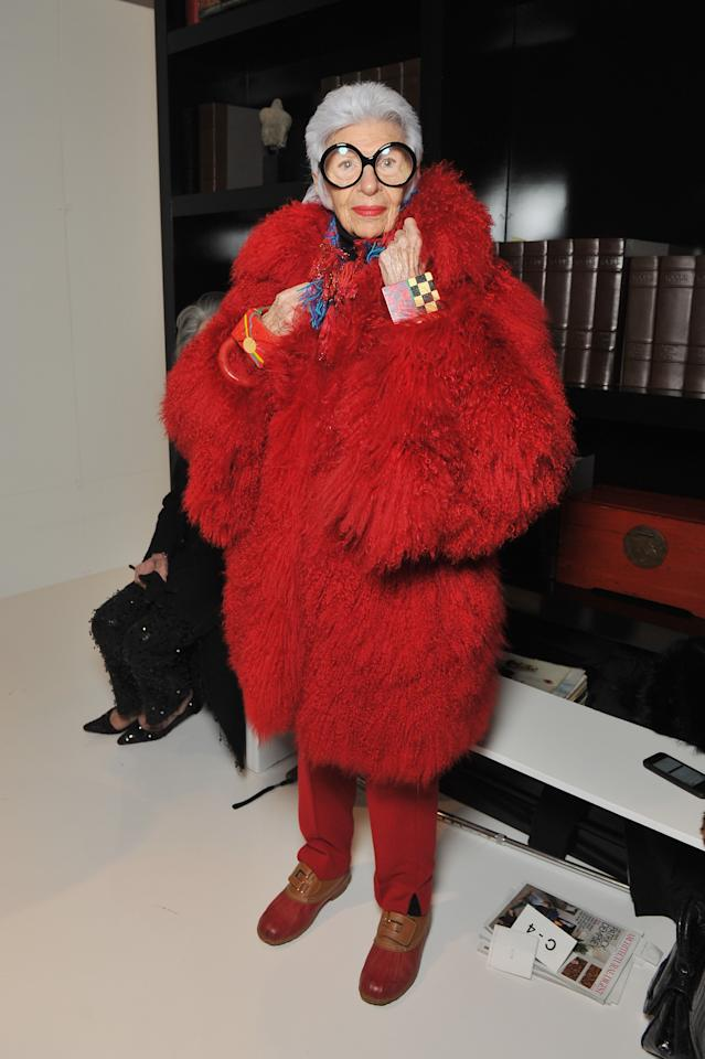 """<p>96-year-old <a rel=""""nofollow"""" href=""""https://www.instagram.com/iris.apfel/"""">Iris Apfel</a> is undoubtedly one of the industry's most referenced fashion icons. And it's the interior designer's carefree attitude towards fashion which we envy the most. <em>[Photo: Getty]</em> </p>"""