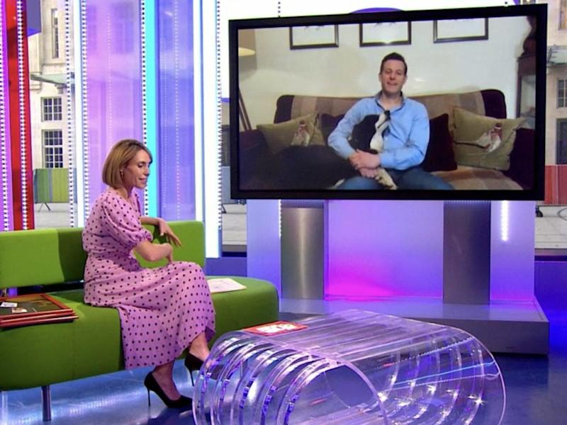 Alex Jones says goodbye to long-time co-host Matt Baker (and his dog) via video link on The One Show: BBC