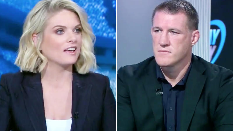 Erin Molan and Paul Gallen, pictured here discussing the NRL scandal on the Sunday Footy Show.