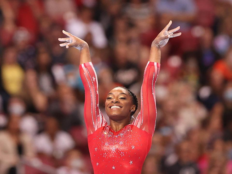 Simone Biles competes in the floor exercise during the Olympic Trials (Getty)