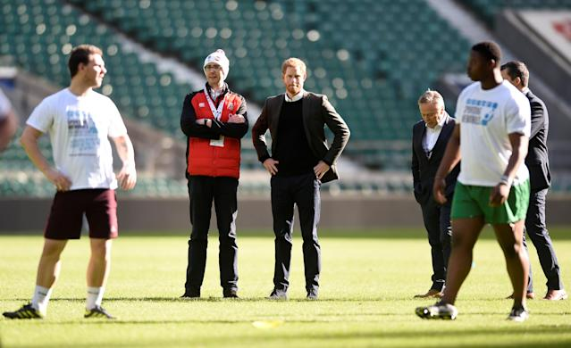 Rugby Union - England Training - Twickenham Stadium, London, Britain - February 16, 2018 Britain's Prince Harry watches the training session Action Images via Reuters/Adam Holt