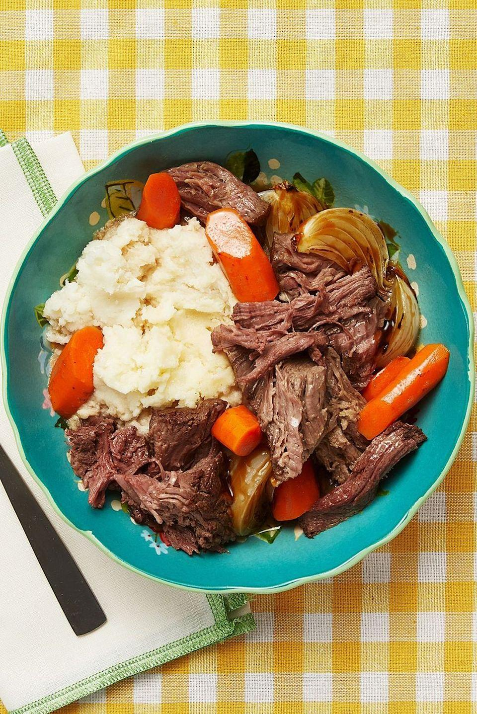"<p>This pot roast is one of Ree's favorites, so it's officially mom-approved. Pro tip: Start with a nicely marbled piece of meat for the best results.</p><p><strong><a href=""https://www.thepioneerwoman.com/food-cooking/recipes/a10342/pot-roast-recipe/"" rel=""nofollow noopener"" target=""_blank"" data-ylk=""slk:Get the recipe"" class=""link rapid-noclick-resp"">Get the recipe</a>.</strong></p><p><strong><a class=""link rapid-noclick-resp"" href=""https://go.redirectingat.com?id=74968X1596630&url=https%3A%2F%2Fwww.walmart.com%2Fsearch%2F%3Fquery%3Dcookware&sref=https%3A%2F%2Fwww.thepioneerwoman.com%2Ffood-cooking%2Fmeals-menus%2Fg35589850%2Fmothers-day-dinner-ideas%2F"" rel=""nofollow noopener"" target=""_blank"" data-ylk=""slk:SHOP COOKWARE"">SHOP COOKWARE</a></strong></p>"