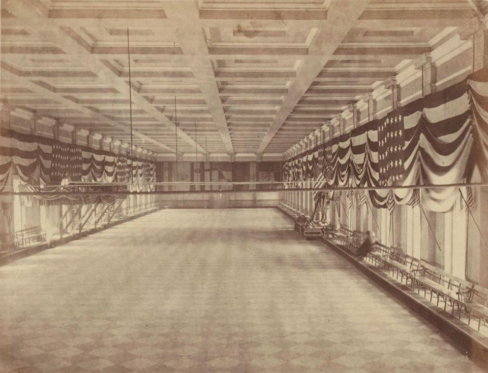 <p>The venue for Abraham Lincoln's second inaugural ball, lies empty ahead of the festivities. The President was sworn in for his second term on March 4, 1865 and was assassinated a month later. </p>