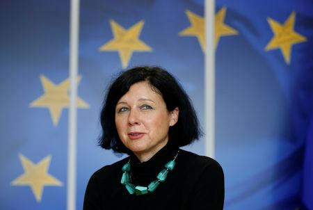 FILE PHOTO: European Justice Commissioner Vera Jourova at the EU Commission headquarters in Brussels, Belgium, September 11, 2017.REUTERS/Francois Lenoir/File Photo