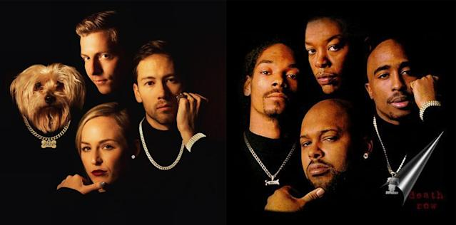These roommates replicated Death Row Records for an epic holiday card. (Photo: Reddit/Death Row Records)