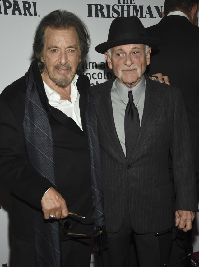 """Actors Al Pacino, left, and Joe Pesci attend the world premiere of """"The Irishman"""" at Alice Tully Hall during the opening night of the 57th New York Film Festival on Friday, Sept. 27, 2019, in New York. (Photo by Evan Agostini/Invision/AP)"""
