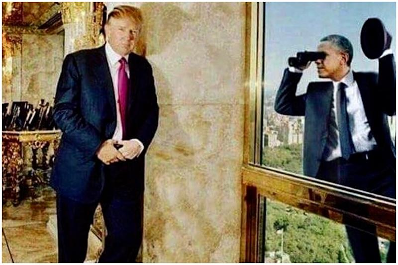 Trump Trolled for Sharing 'Ridiculous' Meme with Photoshopped Image of Obama Spying on Him