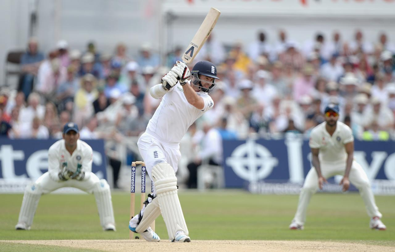 NOTTINGHAM, ENGLAND - JULY 12:  James Anderson of England bats during day four of 1st Investec Test match between England and India at Trent Bridge on July 12, 2014 in Nottingham, England.  (Photo by Gareth Copley/Getty Images)
